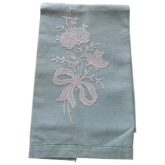 Vintage Green and White Embroidered Flower Linen Guest Towel