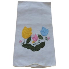 Vintage Green and Yellow Embroidered Bathroom Guest Towel