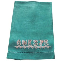 Vintage Green and Yellow Embroidered Guest Linen Guest Towel