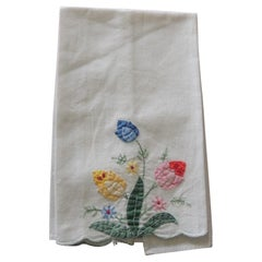 Vintage Green and Yellow Quilted and Embroidered Bathroom Guest Towel