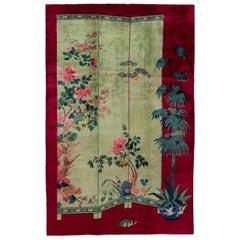 Vintage Green Art Deco Chinese Wool Rug