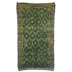 Vintage Green Beni M'Guild Moroccan Rug with Biophilic Design and Tribal Style