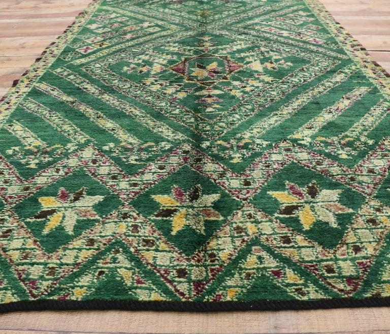 Vintage Green Beni Mguild Rug, Berber Moroccan Rug with Tribal Style For Sale 3