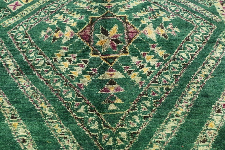 20th Century Vintage Green Beni Mguild Rug, Berber Moroccan Rug with Tribal Style For Sale
