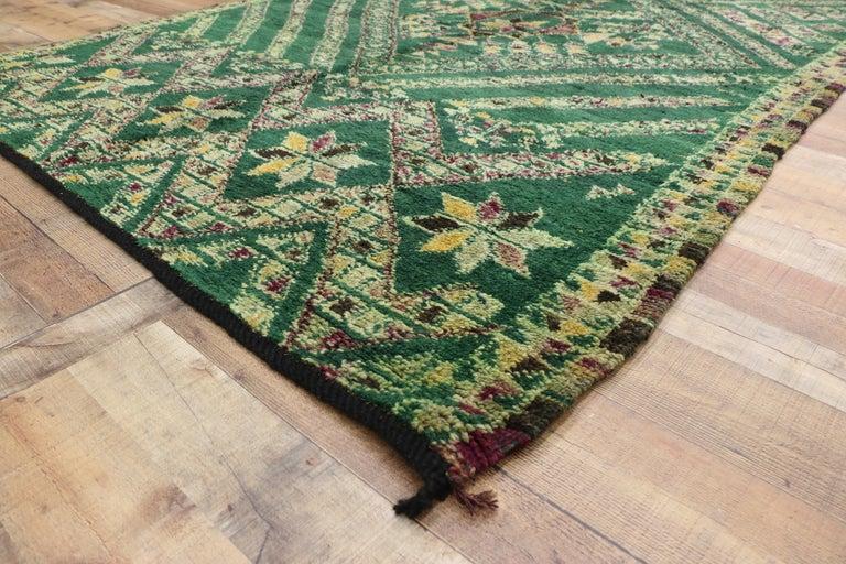 Vintage Green Beni Mguild Rug, Berber Moroccan Rug with Tribal Style For Sale 2