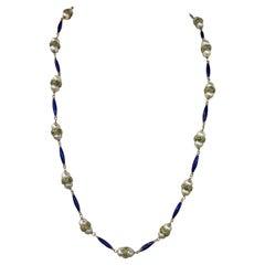 Vintage Green & Blue Enamel Pearl Necklace 18 Karat Yellow Gold