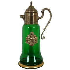 Vintage Green Bohemian Glass and Brass Carafe Pitcher Coat of Arms Figural Lions