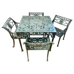 Vintage Green Cast Aluminum 5 Pc Patio Outdoor Dining Set, Table and Four Chairs