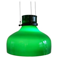 Vintage Green Colored Glass Pendant Lamp, 1960s-1970s