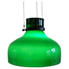 Grüne Vintage Glas Hängelampe, 1960er / 1970er Jahre