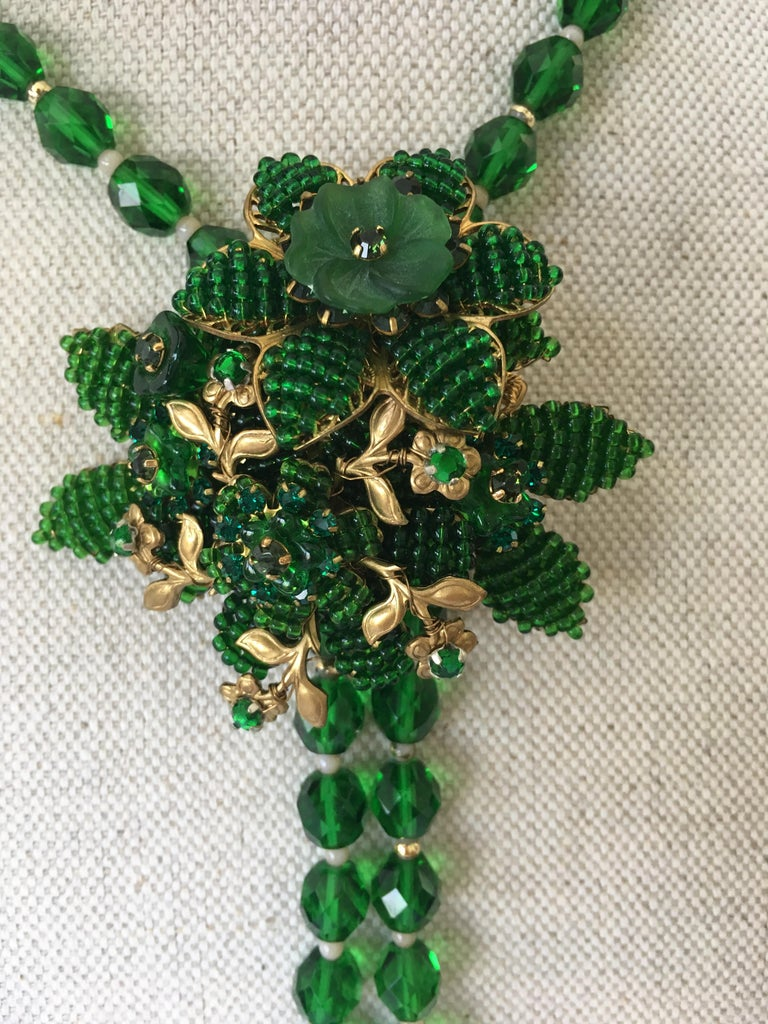 Vintage green crystal necklace with pin attributed to Hagler
