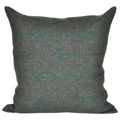 Vintage Green Donegal Plaid Tweed Irish Wool with Irish Linen Cushion Pillow