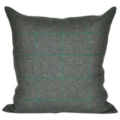 Vintage Green Donegal Plaid Tweed Irish Wool with Irish Linen Cushion Pillow