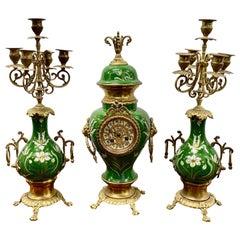 Vintage Green Enameled Clock and Candelabras, circa 1930