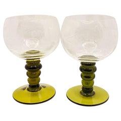 Vintage Green Etched Wine Glasses, Pair