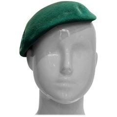 Vintage Green Felt Beret Hat