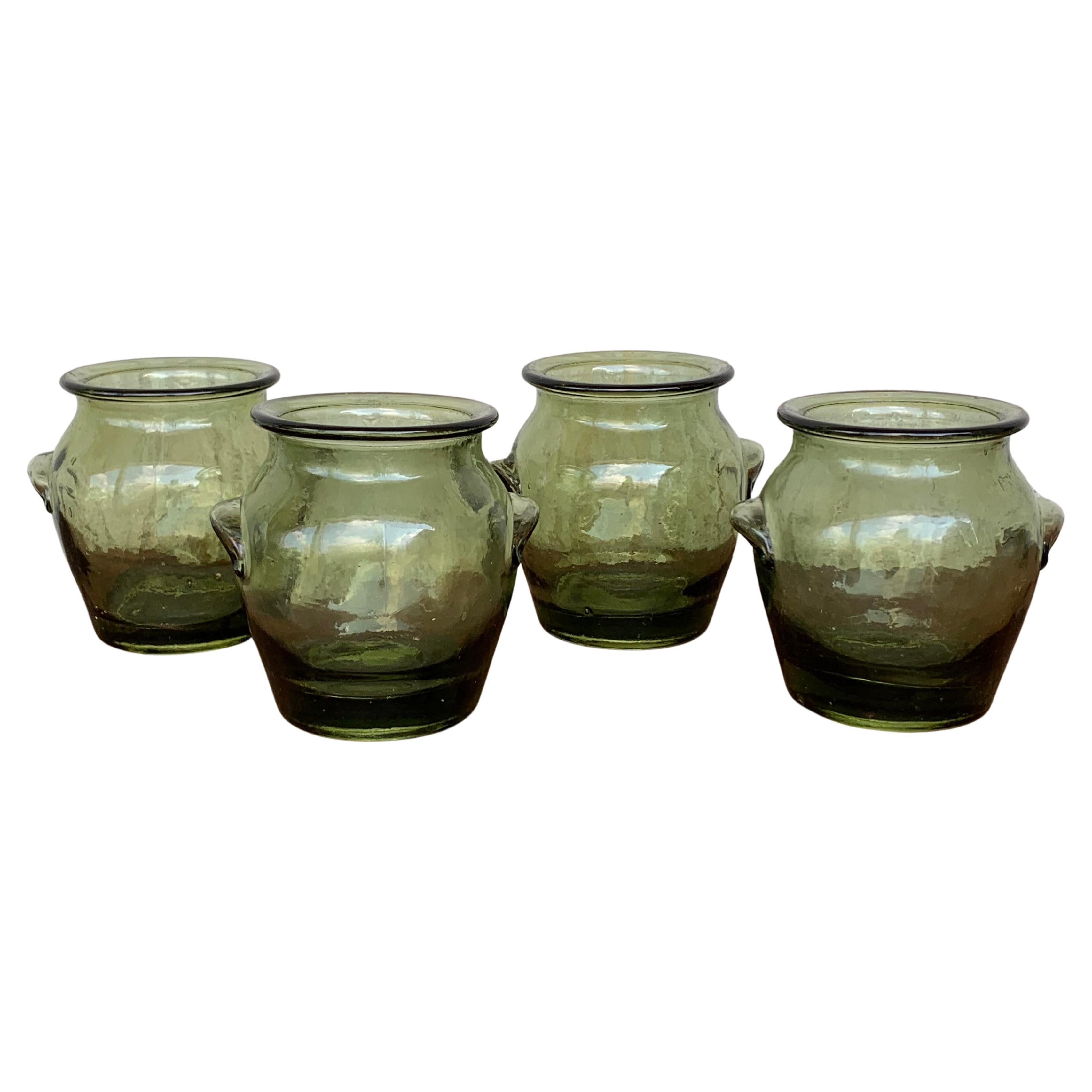 Vintage Green Glass Canister Storage Jars, Spain Flour, Tea, 1960s