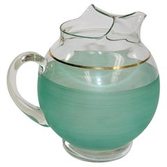 Vintage Green Glass Pitcher American Collectible, 1960's
