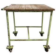 Vintage Green Industrial Trolley, 1960s