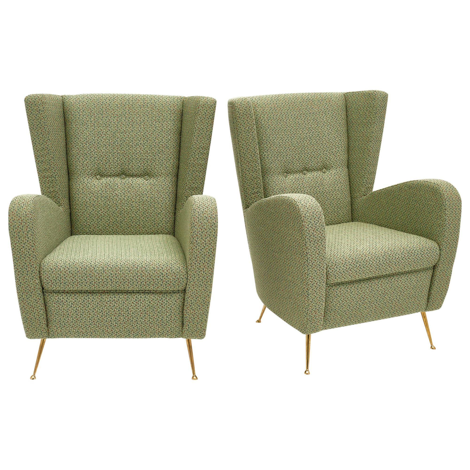 Vintage Green Italian Armchairs by Poltrona Frau