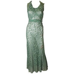 Vintage Green Lace 1920s Gown