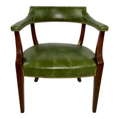 Vintage Green Leather Chair Made by Hickory Chair Company