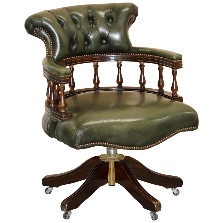 Vintage Green Leather Chesterfield