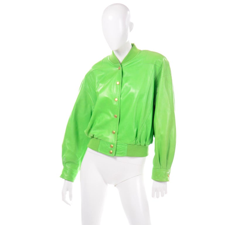 Vintage Green Leather Escada Bomber Jacket w Silk Tiger Lining by Margaretha Ley In Excellent Condition For Sale In Portland, OR