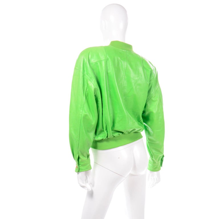 Women's Vintage Green Leather Escada Bomber Jacket w Silk Tiger Lining by Margaretha Ley For Sale