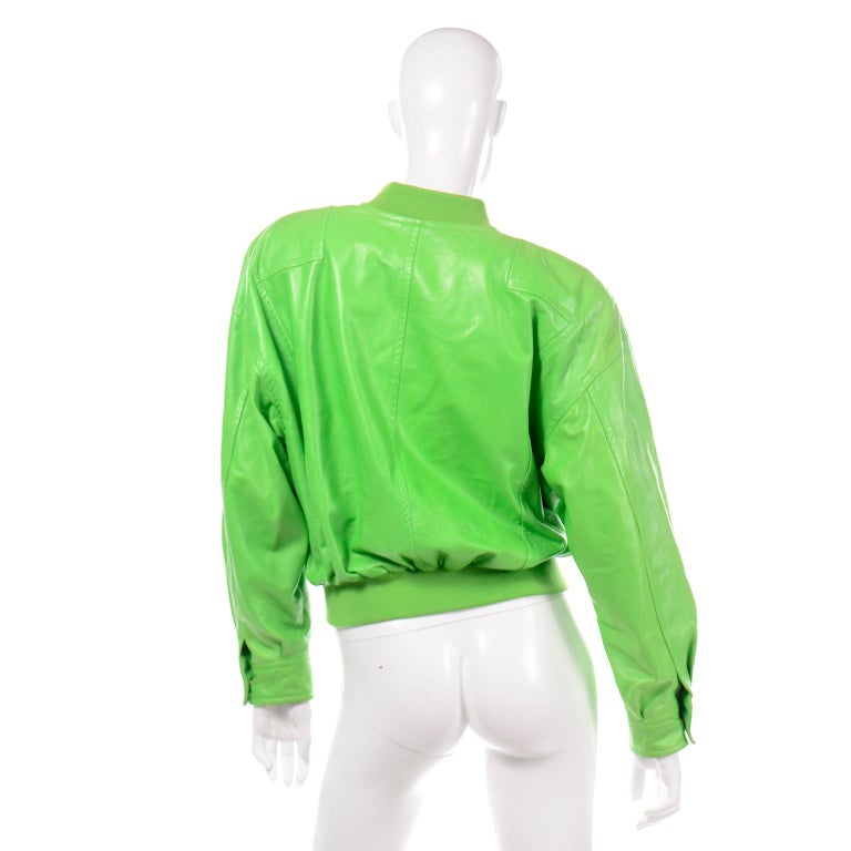 Vintage Green Leather Escada Bomber Jacket w Silk Tiger Lining by Margaretha Ley For Sale 1