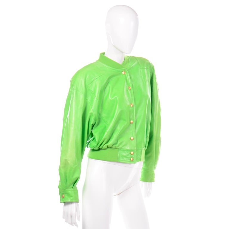 Vintage Green Leather Escada Bomber Jacket w Silk Tiger Lining by Margaretha Ley For Sale 3