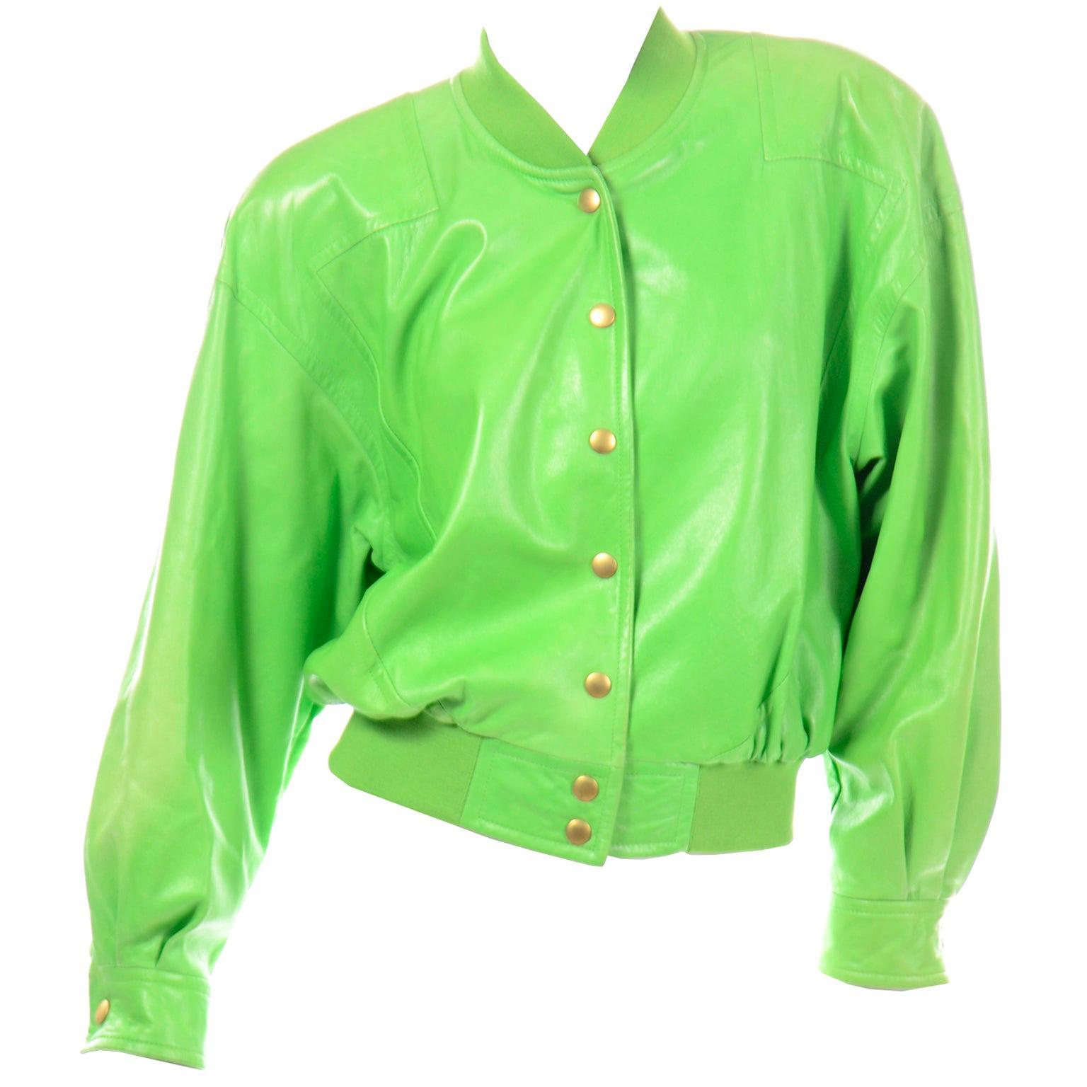Vintage Green Leather Escada Bomber Jacket w Silk Tiger Lining by Margaretha Ley
