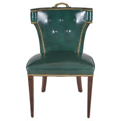 Vintage Green Leather Side or Desk Chair
