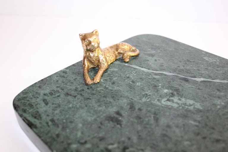 Polished Vintage Green Marble Tray with Gold Leopard Serving Knives, 1970s For Sale