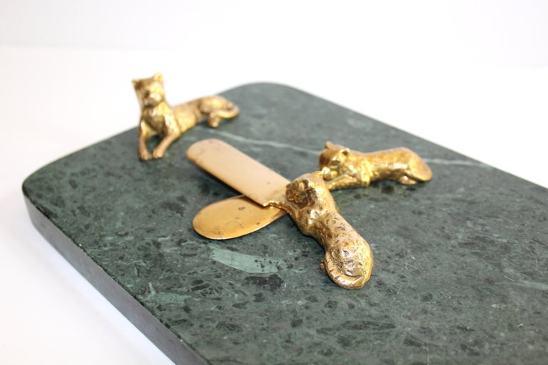 Brass Vintage Green Marble Tray with Gold Leopard Serving Knives, 1970s For Sale