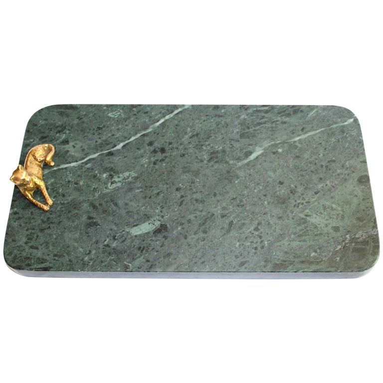 Vintage Green Marble Tray with Gold Leopard Serving Knives, 1970s For Sale