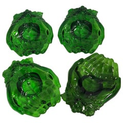Vintage Green Molded Glass Dishes, 1960s, Set of Five