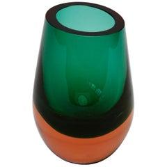 Vintage Green and Orange Glass Vase by Konrad Habermeier for Gral Glas, 1965