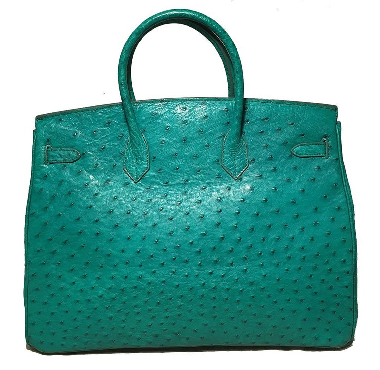 Women's Vintage Green Ostrich Birkin Bag For Sale