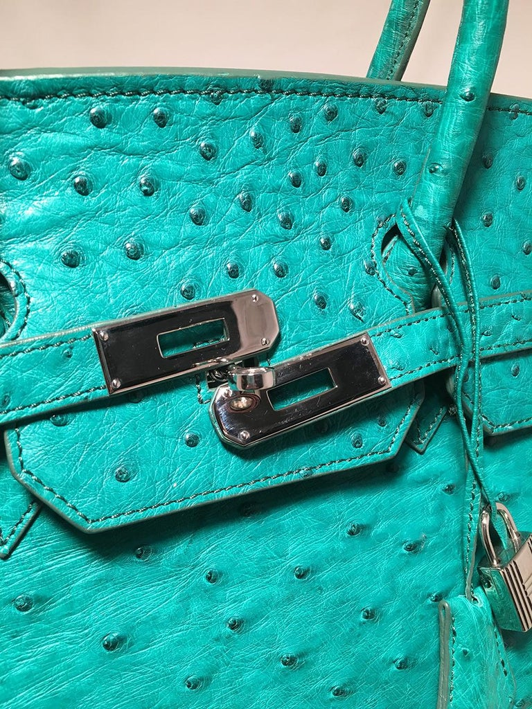 Vintage Green Ostrich Birkin Bag For Sale 2