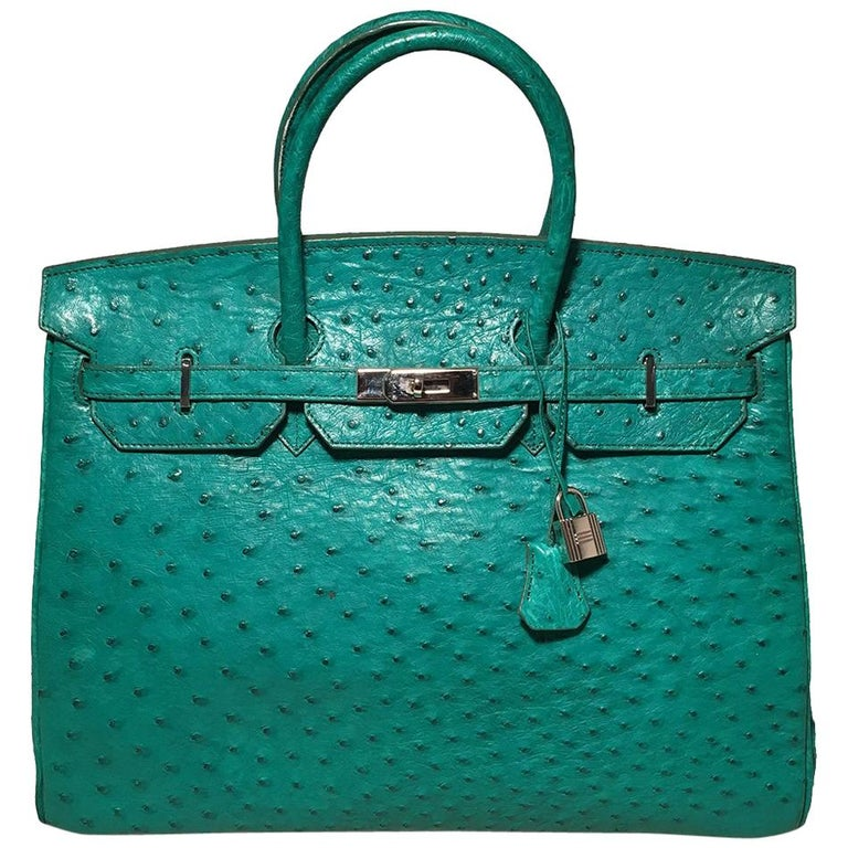 Vintage Green Ostrich Birkin Bag For Sale