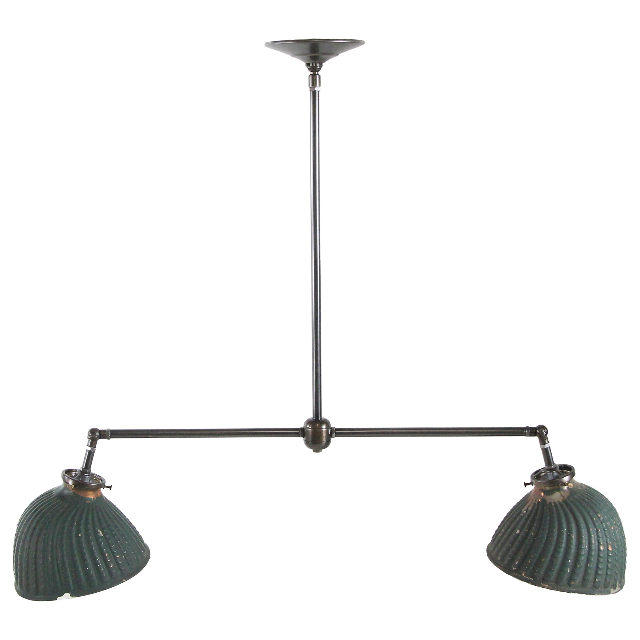 Vintage Green Painted X-Ray Glass Double in Modern Pendant Light