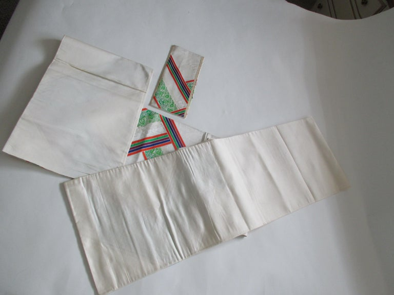Japanese Vintage Green Red and White Embroidered Obi Textile For Sale