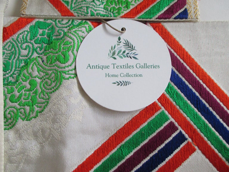 Hand-Crafted Vintage Green Red and White Embroidered Obi Textile For Sale