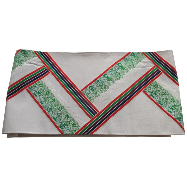 Vintage Green Red and White Embroidered Obi Textile For Sale