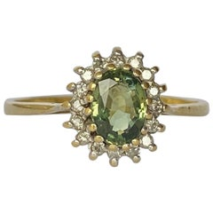 Vintage Green Sapphire and Diamond 18 Carat Gold Cluster Ring