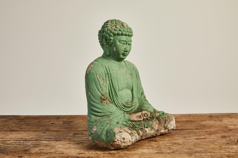 Vintage Green Seated Buddha Sculpture 5