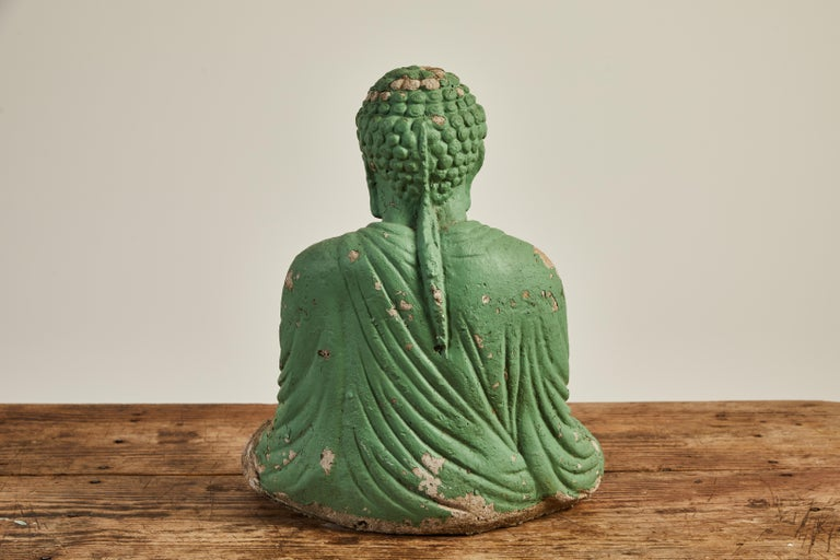 Vintage Green Seated Buddha Sculpture 6