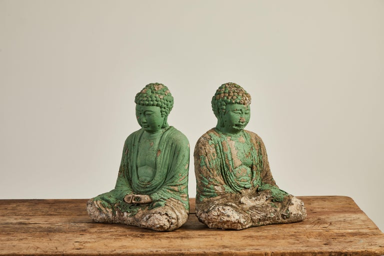Vintage Green Seated Buddha Sculpture 8