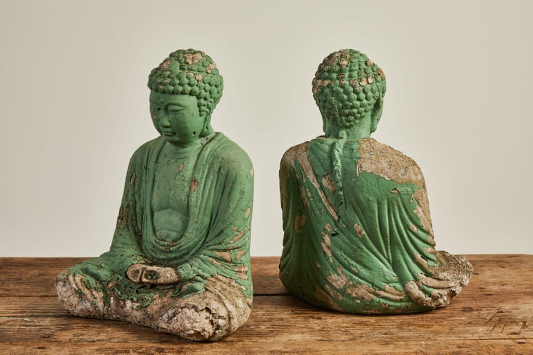 Vintage Green Seated Buddha Sculpture 9